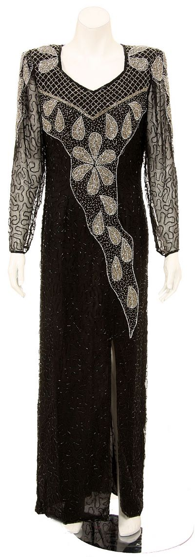 Petal Designed Long Sleeve Evening Gown