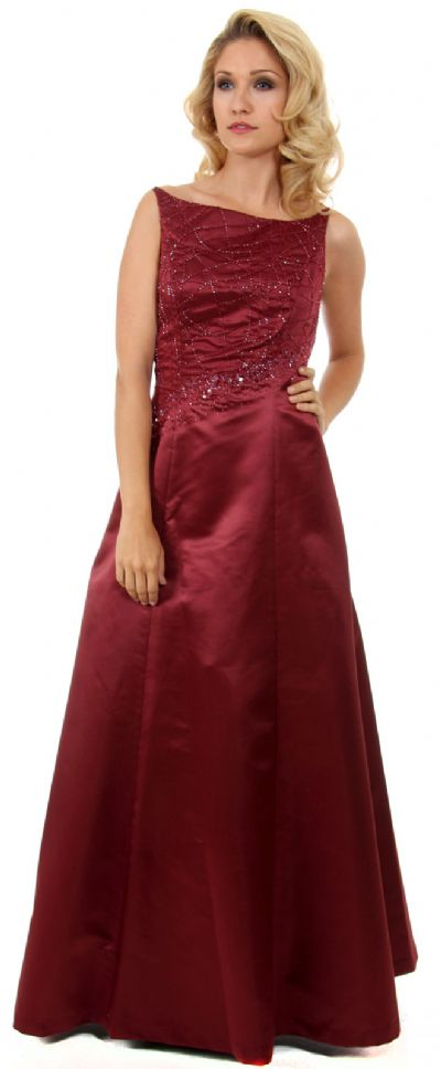 Boat Neck A-Line Beaded Classic Formal Prom Dress