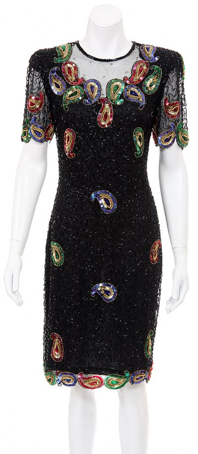 Colorful Drops Hand Beaded Short Dress
