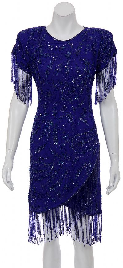 Deep Rain Hand Beaded Short Dress