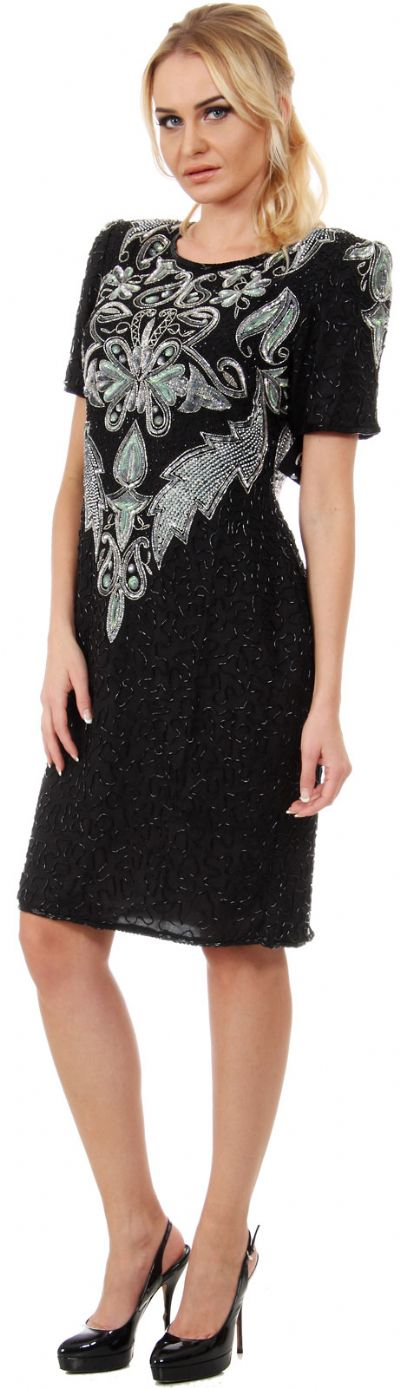 Artistic Beaded Bodice Short Formal Sequined Dress