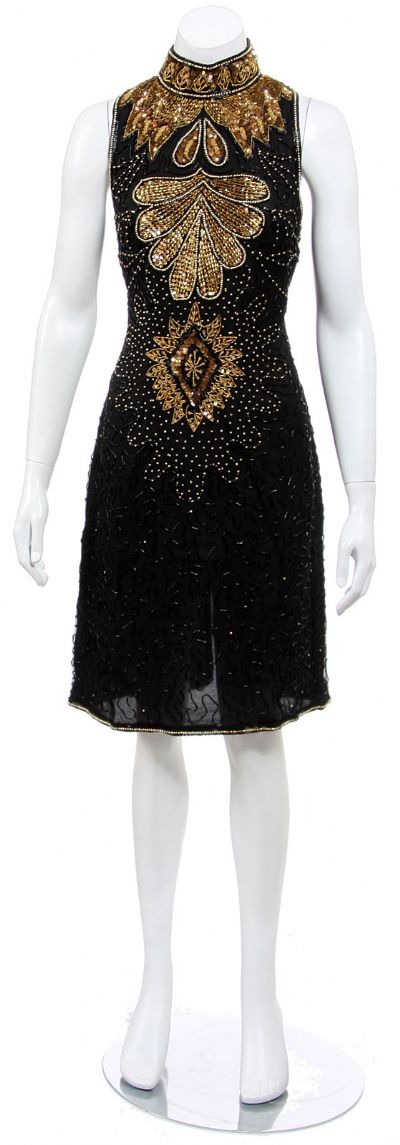 Turtleneck Sleeveless Short Dress with Sequined Bodice