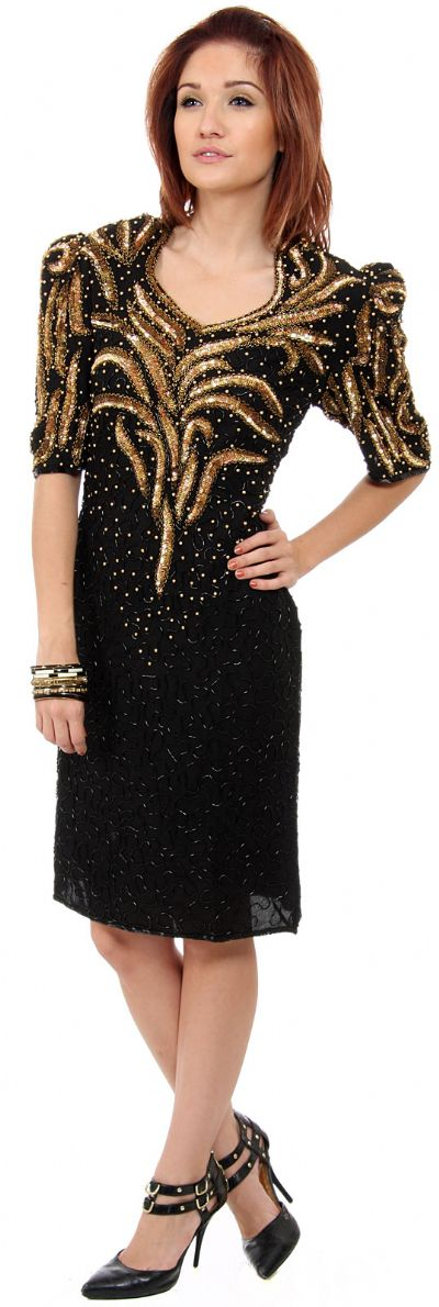 Sequined Tea Length Cocktail Dress