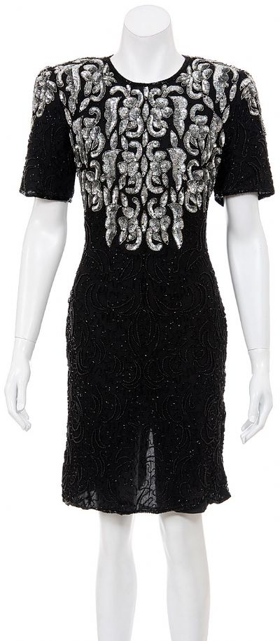 Hooks and Wings Hand Beaded Short Dress