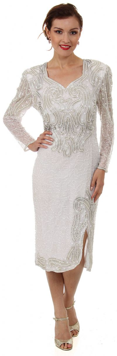 Sweetheart Neck Knee Length Formal Beaded Dress with Keyhole