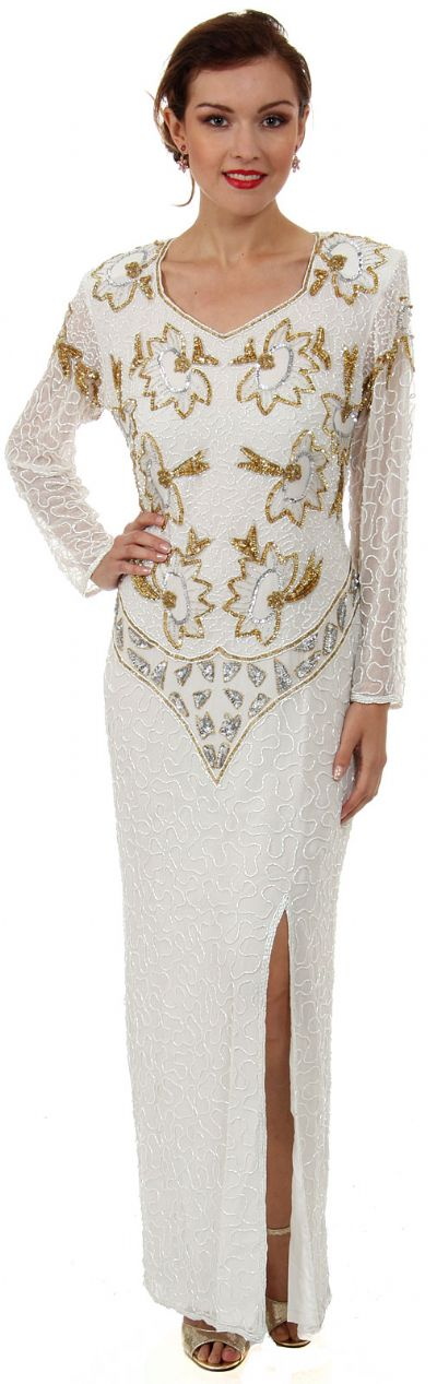 V-Neck Full Sleeves Beaded Formal Gown with Keyhole Back