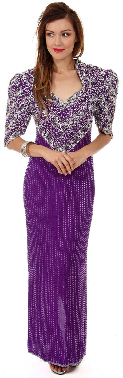 Sweetheart Neck Full Length Beaded Gown with Half Sleeves