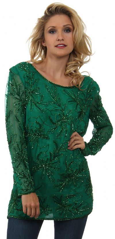 Round Neck Floral Sequined Pattern Blouse