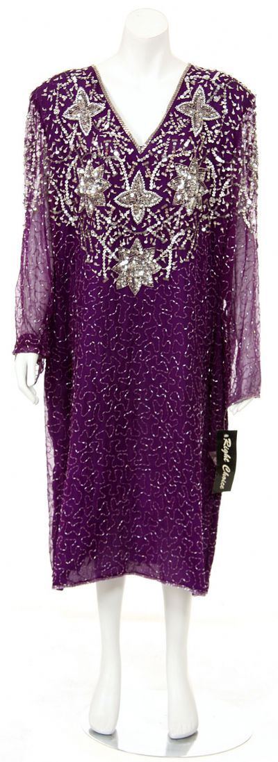 Sequined Tea Length Long Sleeve Gown