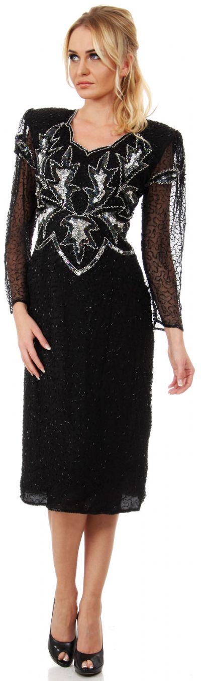 Long Sleeves Keyhole Back Sequined Formal Party Dress