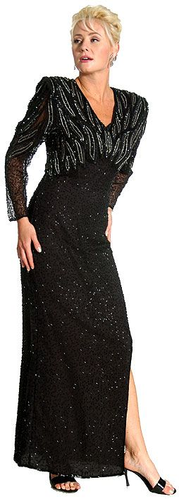 Silver Bead Accent Full Length Gown