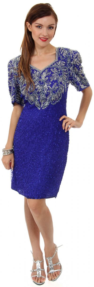 Knee Length V-Neck Formal Cocktail Beaded Dress