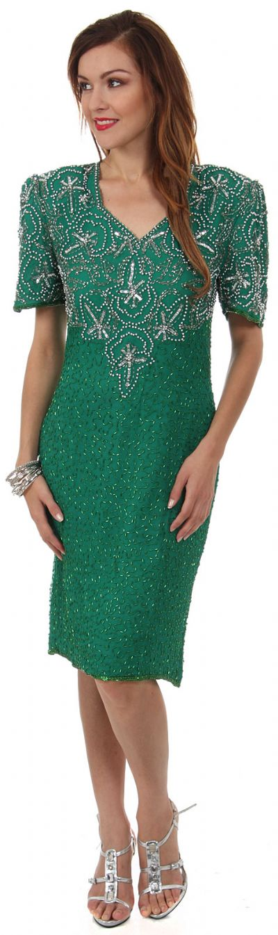 V-Neck Tea Length Formal Beaded Dress with Half Sleeves