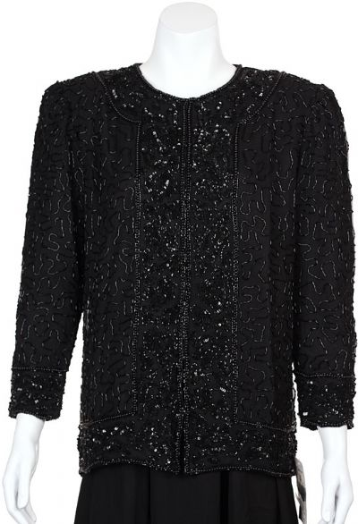 Asymmetric Hand Beaded Jacket with Floral Border