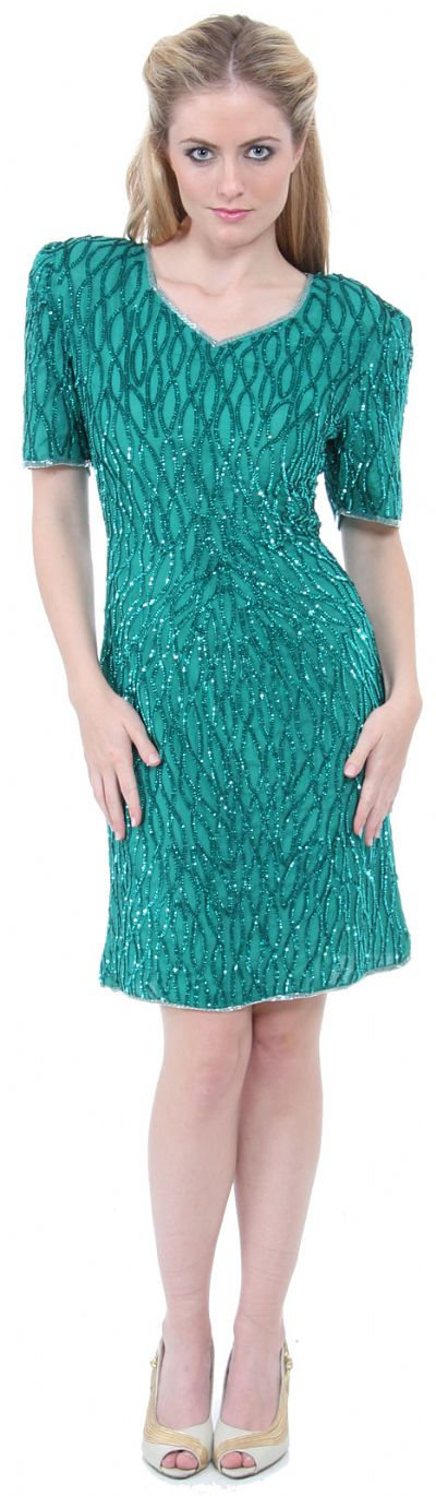 Short Sleeve Sequined Cocktail Dress