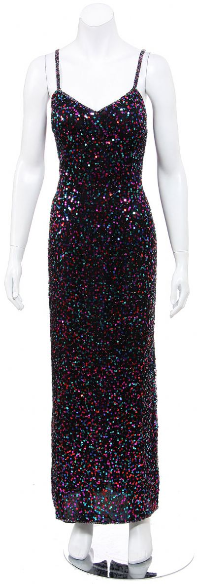 Spaghetti Straps Sequined Long Cocktail Dress