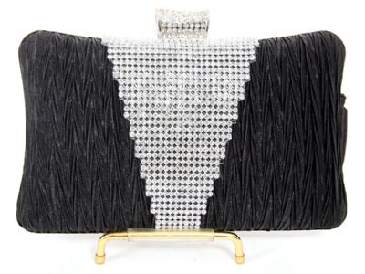 Crocheted Satin Metal Frame Evening Bag in Black