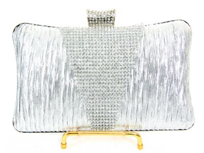 Crocheted Satin Metal Frame Evening Bag in Silver