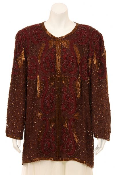 Hand Beaded Long Sleeve Sequined Jacket