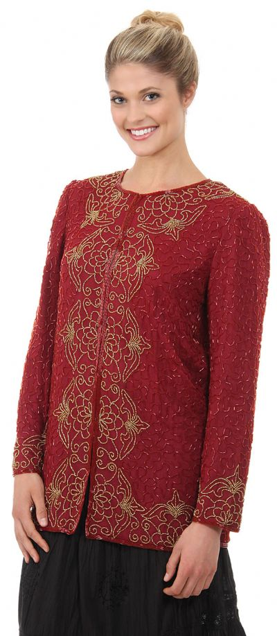 Round Neck Floral Bordered Beaded Jacket