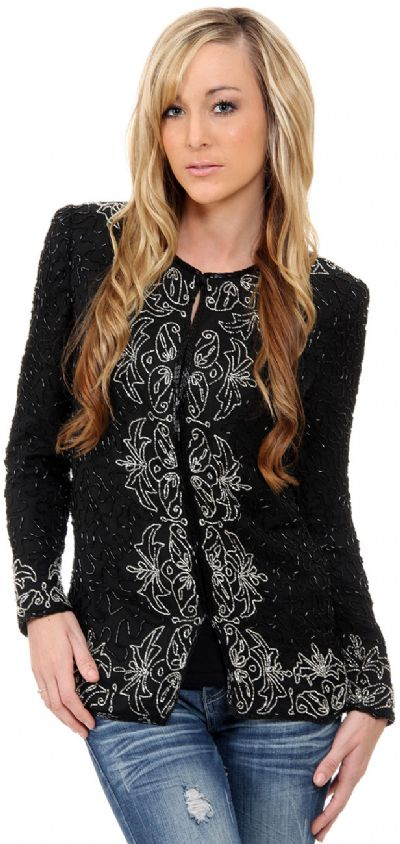 Floral Bordered Beaded Jacket