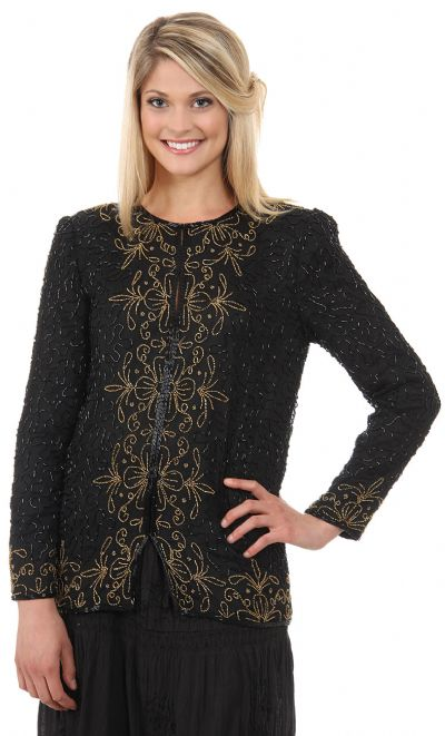 Round Neck Full Sleeves Beaded Jacket