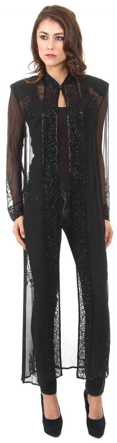 High Collar Full Sleeves Long Sheer Beaded Jacket