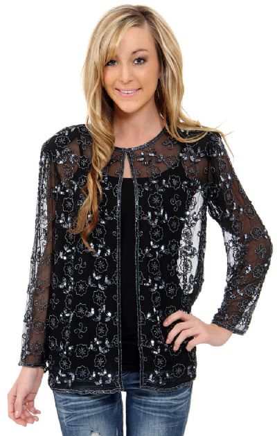 Sheer Jacket With Floral Design