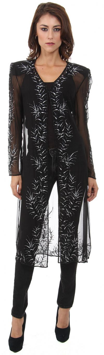 Collared Full Sleeves Sheer Short Jacket with Beading