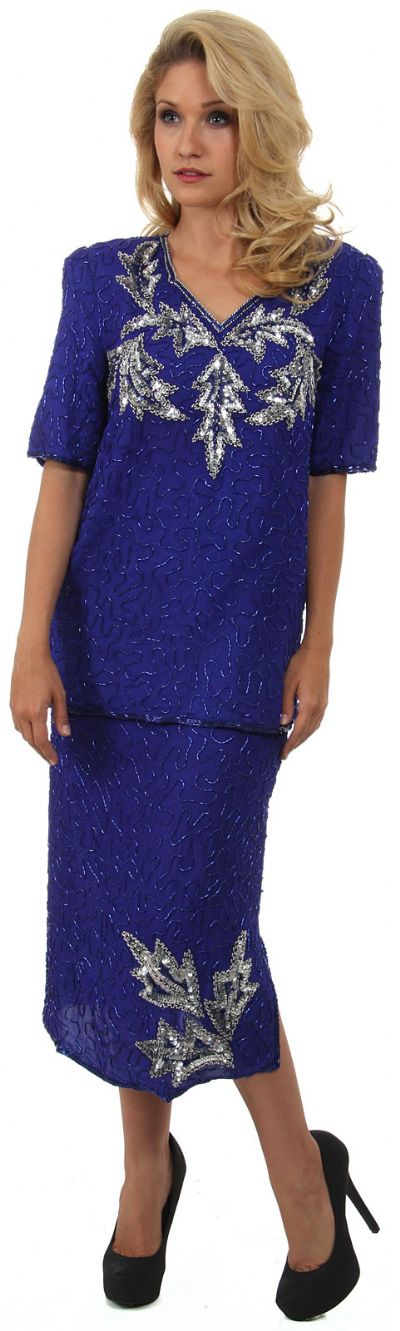 V-Neck Half SleevesTwo Piece Formal Sequined Dress