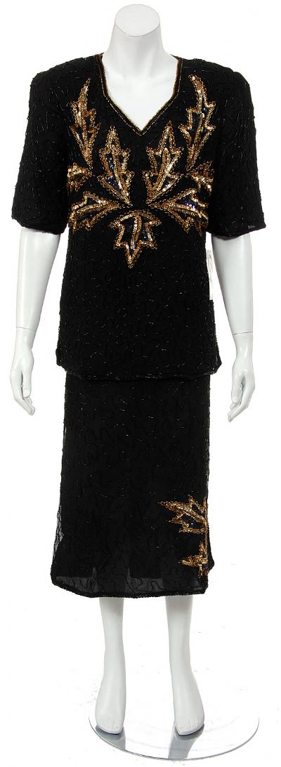 Half Sleeve Sequined 2-piece Dress