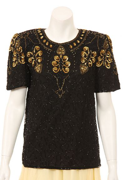 Short Sleeved Stylish Sequin Beaded Blouse