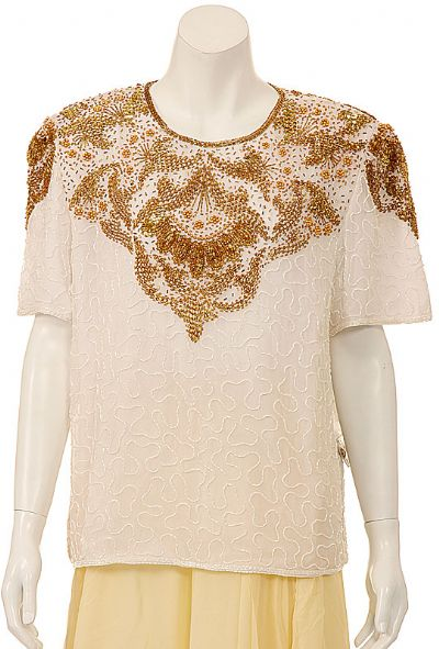 Symmetrical Hand Beaded Sequin Blouse