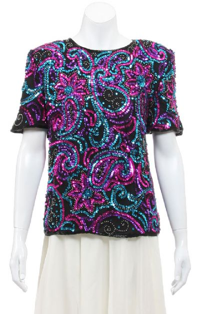 Floral Flare Hand Sequined Pull Over Top
