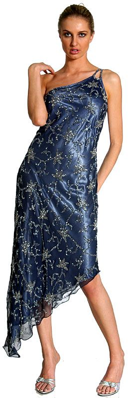 One Shoulder Shimmering Dress with Beaded Flower Patterns