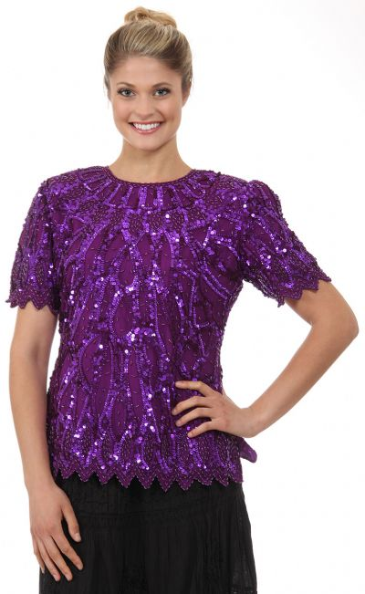Round Neck Half Sleeves Sequined Blouse