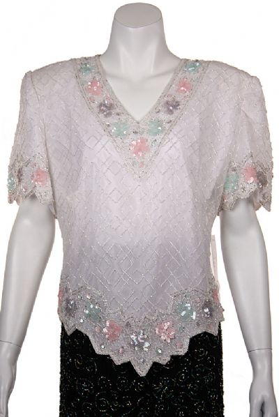 V-Neck Hand Beaded Blouse