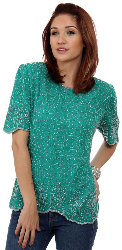 Fully Beaded Blouse with Decorative Hem and Sleeve