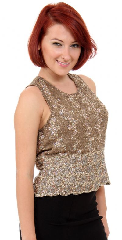 Sleeveless Sequined Blouse