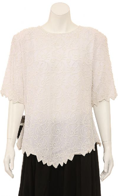 Hand Beaded Short Sleeve Blouse
