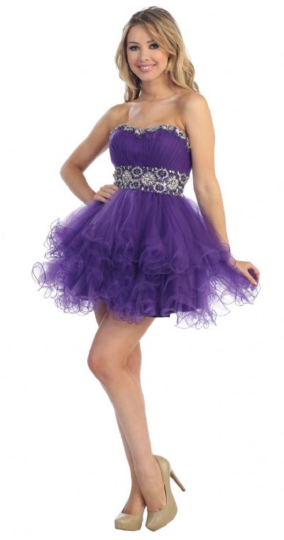 Strapless Beaded Mesh Short Prom Party Dress