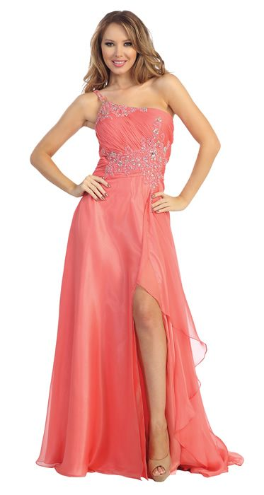One Shoulder Beaded Bust Floor Length Formal Prom Dress