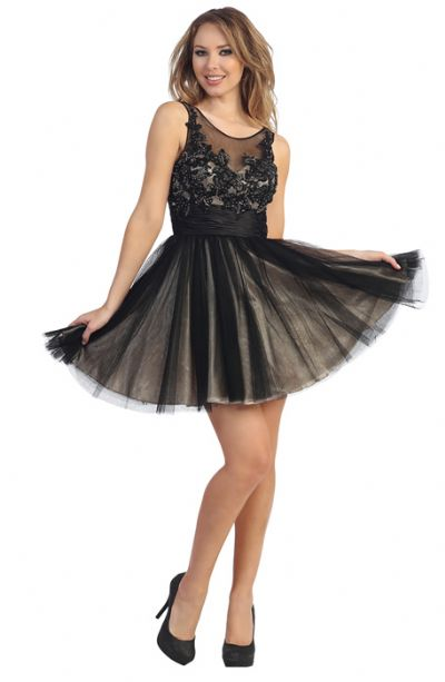 Floral Beaded Bust Tulle Short Formal Prom Dress