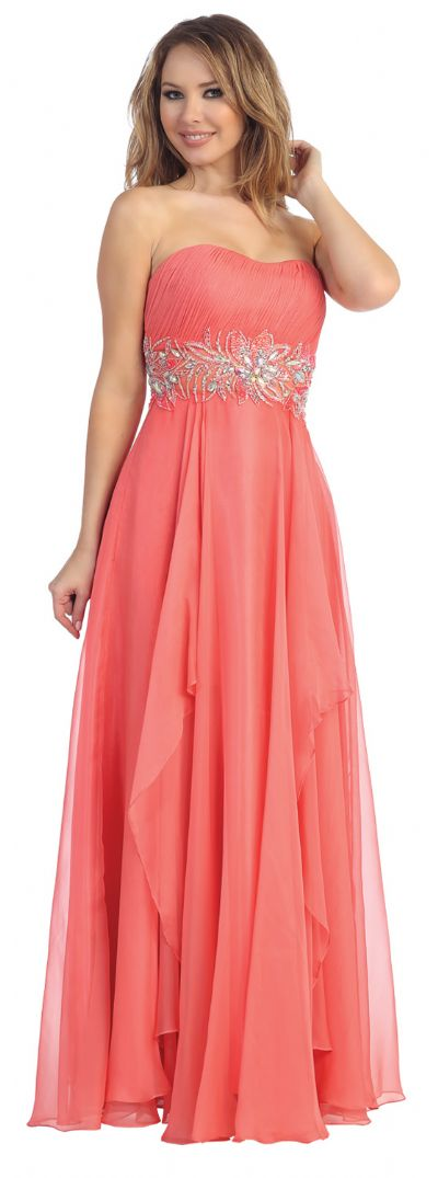 Strapless Floral Beaded Waist Long Formal Prom Dress