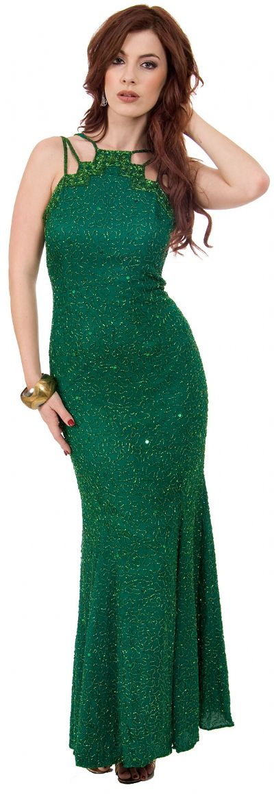 Multi Strapped Beaded Formal Gown with Flared Skirt