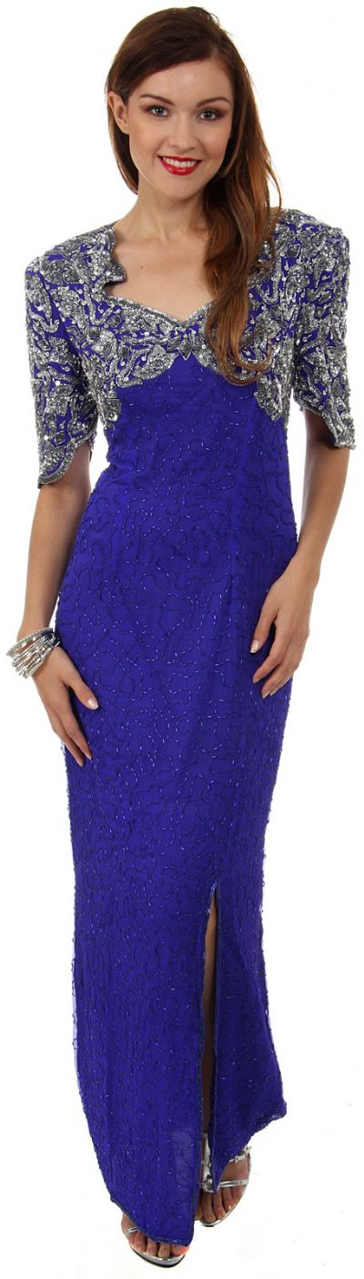 Sweetheart Neck Long Formal Beaded Gown with Keyhole Back