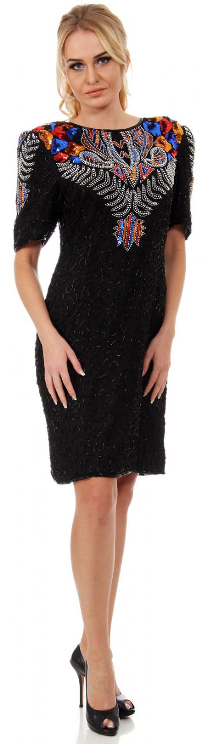 Artistic Bodice Short Formal Sequined Dress with Keyhole