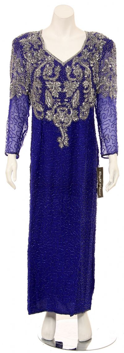 V-Neck Fully Sequined Evening Gown