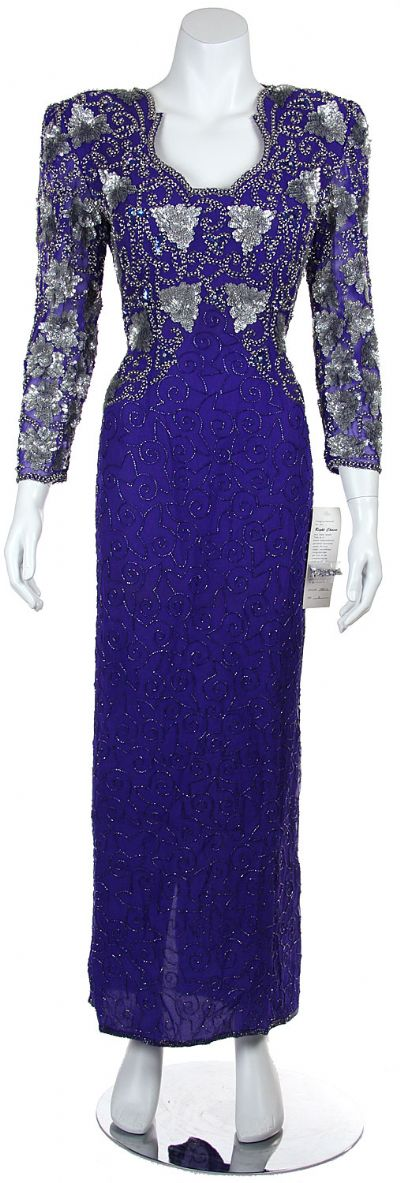 Floral Beaded Full Length Sequined Formal Gown