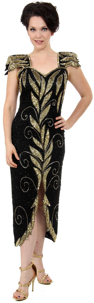 Leafy Sequined Short Evening Dress